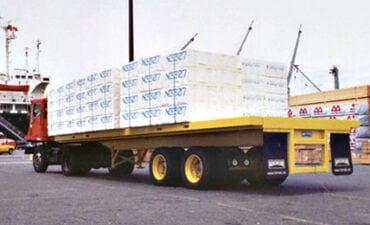 Rear View of Flat Deck Cargo Trailer